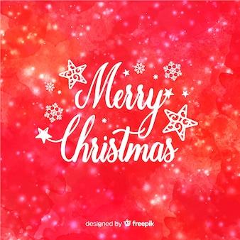 クリエイティブなクリスマスの背景に水彩スタイル
