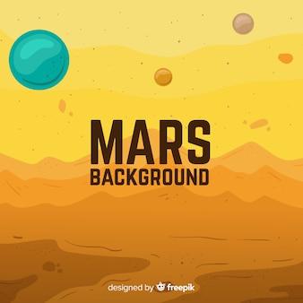 フラットデザインのカラフルな火星の背景