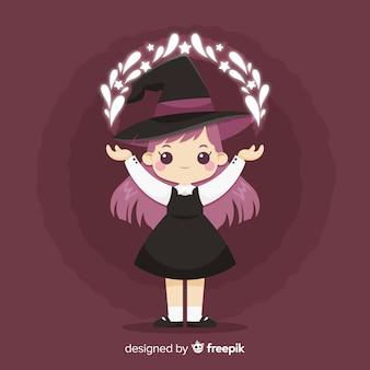 かわいいハロウィーンの魔女の背景のデザイン