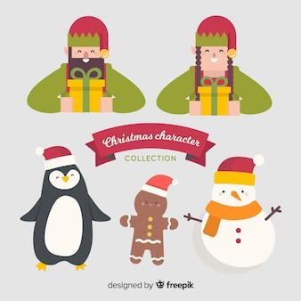 Прекрасная рождественская коллекция персонажей с плоским дизайном