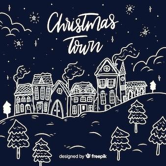 Рисованный рождественский город