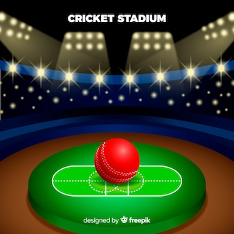 フラットスタイルのクリケットスタジアムの背景