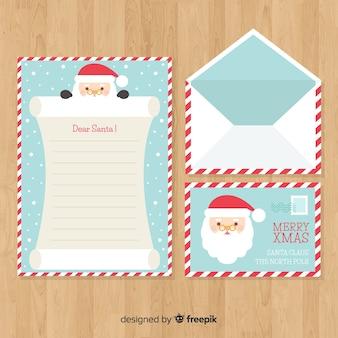 クリスマスの封筒と手紙のデザイン