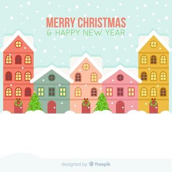 フラットスタイルのクリスマスタウンの背景