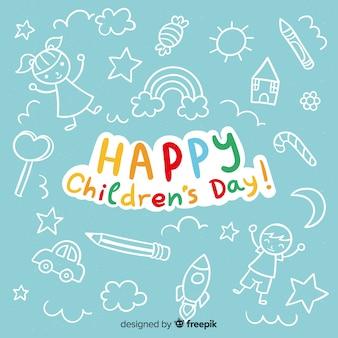 Счастливый детский день фон с надписью