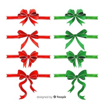 フラットデザインのラブリークリスマスリボンコレクション