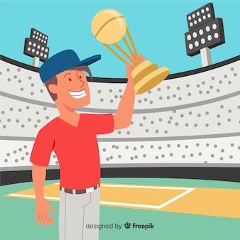 クリケットスタジアムの背景とカップを表示するプレーヤー