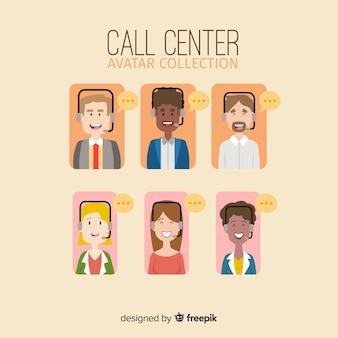 フラットデザインのコールセンターエージェントアバターコレクション