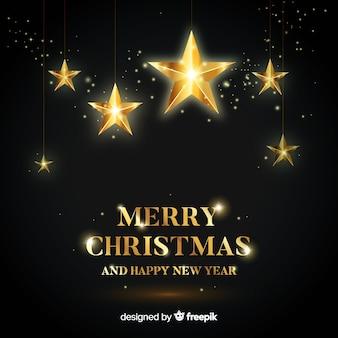 クリスマスの黄金の星の背景