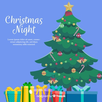 クリスマスツリーと背景を提示