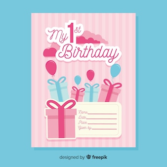 最初の誕生日は招待状を切った