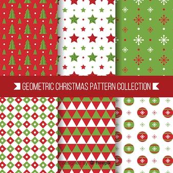 幾何学的なデザインによる現代のクリスマスパターンコレクション