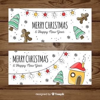 Красивые рисованные рождественские баннеры