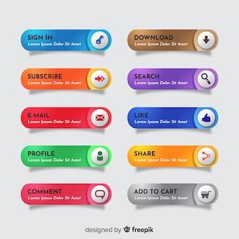 Веб-кнопка, установленная в плоском стиле