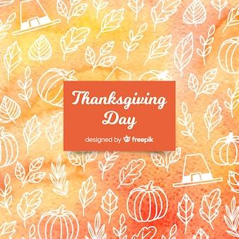 Акварель счастливый день благодарения