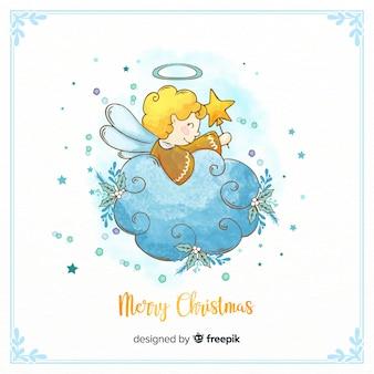 素敵な水彩クリスマスエンジェル