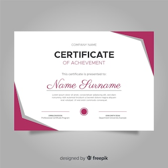 Цветной шаблон сертификата с плоским дизайном
