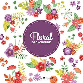 フラットデザインの素敵な花の背景