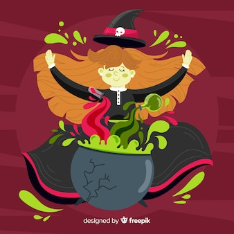 かわいい魔女ハロウィンの背景