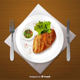 水彩の美味しいレストランディッシュ