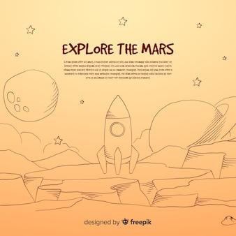 カラフルな手描きの火星の背景