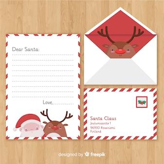 クリスマスの封筒と手紙の概念