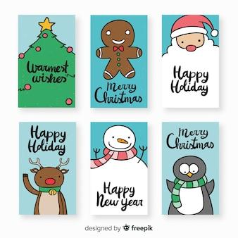 素敵な手描きのクリスマスカードコレクション