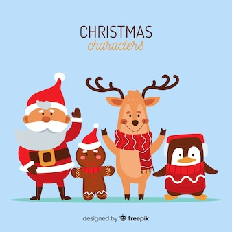フラットデザインの素敵なクリスマスキャラクターコレクション