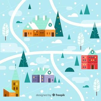 クリエイティブフラットクリスマスタウンの背景