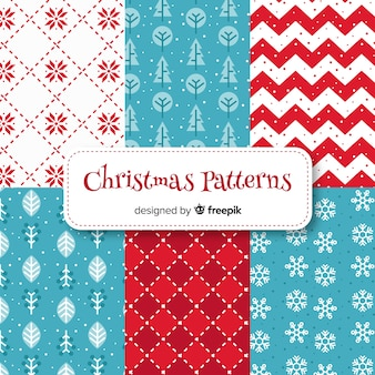 フラットデザインのラブリークリスマスパターンコレクション