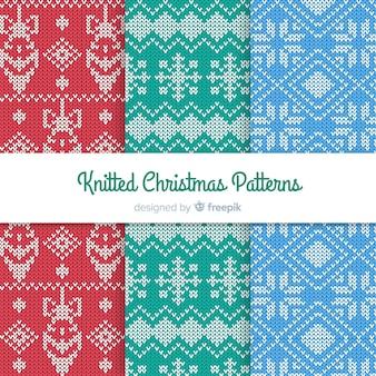 Красочный вязаный набор рождественских образцов