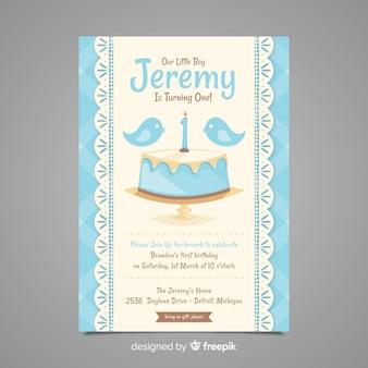 最初の誕生日の鳥のケーキの招待状