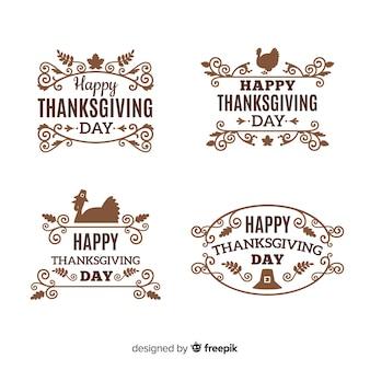 幸せな感謝の日ラベルコレクション