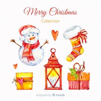 水彩クリスマスの要素の素敵なコレクション