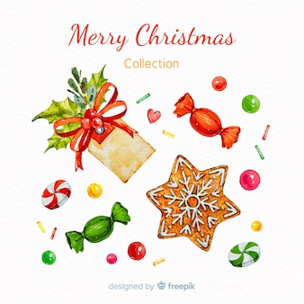 水彩のクリスマスの要素の素敵なセット