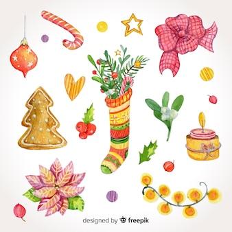 水彩クリスマスの要素の美しいパック