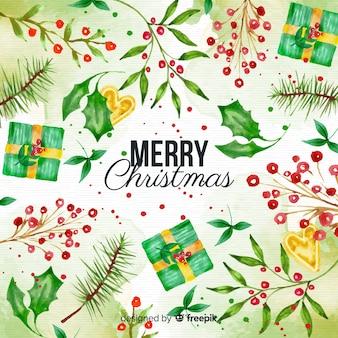 水彩クリスマスの背景とプレゼントとヤドリギ