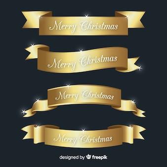 Современная рождественская ленточная коллекция с реалистичным дизайном