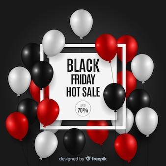 Черный фон с распродажами с воздушными шарами