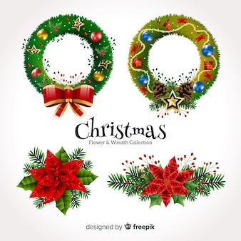 クリスマスの花と花輪のコレクション