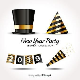 素敵な現実的な新年パーティーの要素コレクション