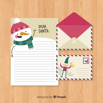 平らなクリスマスの封筒と手紙のデザイン
