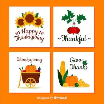 フラットデザインの幸せな感謝のカードコレクション