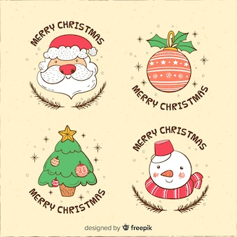 面白い漫画のキャラクタークリスマスのラベルのコレクション