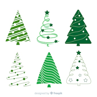フラットデザインのクリスマスツリーコレクション