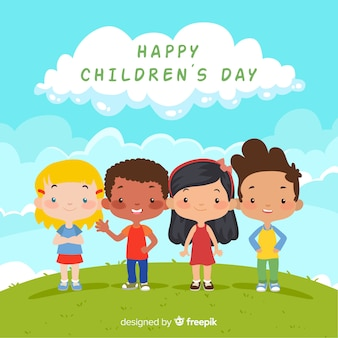 Прекрасная детская композиция дня с плоским дизайном