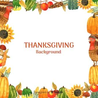 Акварель счастливый фон благодарения