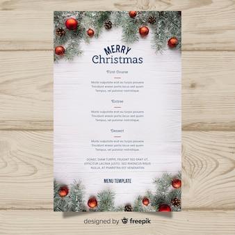 エレガントなクリスマスメニューテンプレートと写真