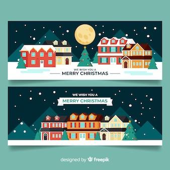 クリスマスタウンのフラットスタイルのバナー