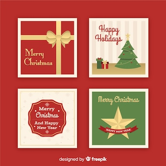 クリスマスフラットグリーティングカードコレクション
